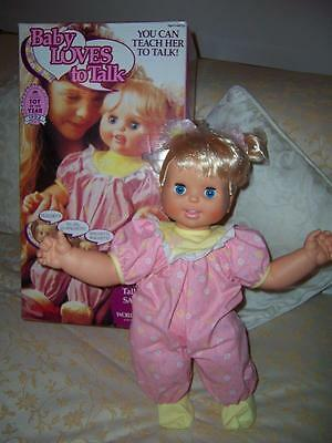 Croner Baby Loves To Talk Doll Original Box Instructions Works 1992 Era Toy Biz