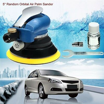 "New 5"" Air Palm Orbital Sander Random Hand Sanding Pneumatic Round FREE SHIPPING"