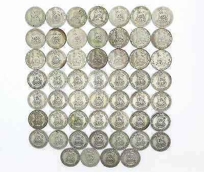JOB LOT 53x British .500 Silver Shilling Coins 292 grams pre 1947 George V