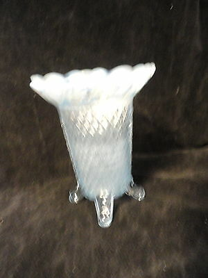 Katy Blue 4-Toed Laced Edge Vase by Imperial Glass 1930s Opalescent