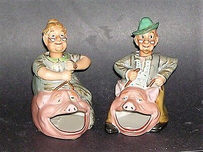 Rare Pr. Bisque Nodders Man and Wife Riding Pigs
