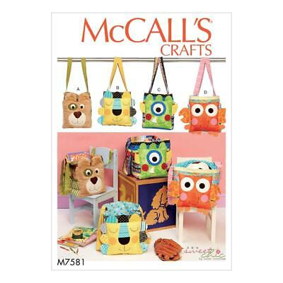 MCCALLS CRAFTS SEWING PATTERN M7581 Animal Organiser Tote Bags For ...