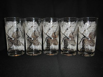 Vintage Set Of 5 Snow Covered Pine & Gold Pine Cone Glasses - Georges Briard