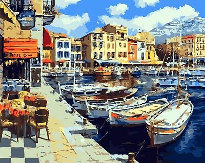 Framed Painting by Number kit Beautiful Port Harbor City Town Blue Sky MB7114