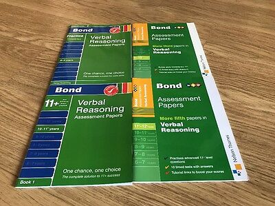 New 4 X BOND Verbal Reasoning Assessment Papers. 8-9, 9-10, 10-11 & 11-12 Years