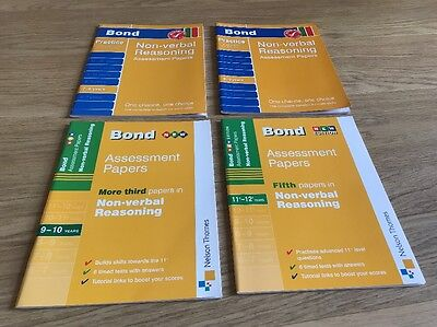 New 4 X BOND Non Verbal Reasoning Assessment Papers 8-9, 9-10, 10-11 & 11-12 Yrs
