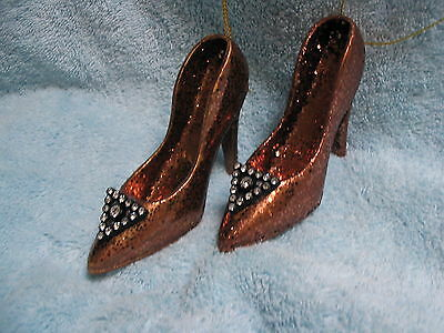 Copper Brown Glittered Fashion Ornaments High Heel Shoes - Faux Sparkling Jewels