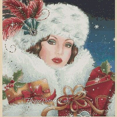 Cross stitch chart  Art Deco Lady 194 christmas   FlowerPower37-Uk