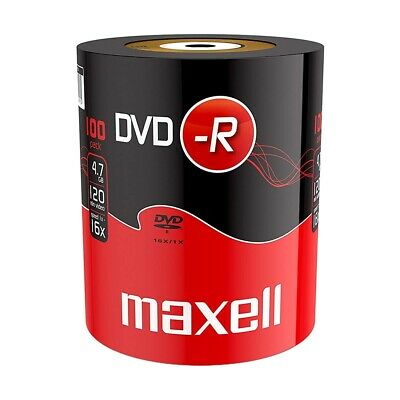 100x NEW Maxell Blank DVD-R 16x 4.7GB 120m DVDR DISCS - Shrink Wrap Pack