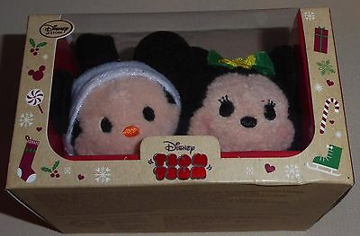 DISNEY STORE UK Tsum Tsum  Christmas 2016 Mickey & Minnie Mouse Boxed