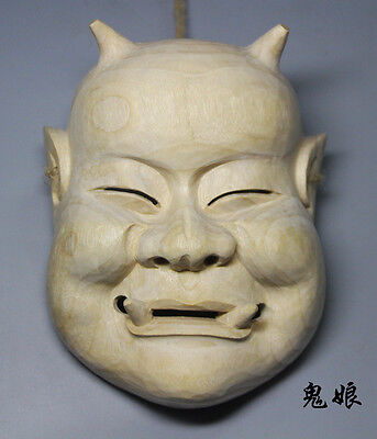 19x15.5x6.3 CM Hand Carved Japanese Noh Mask MASK - QH025
