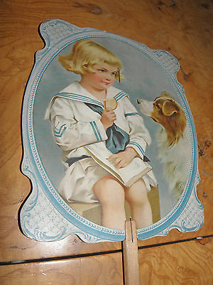Antique Advertising Hand Fan Little Boy & Dog Mountfort Coal Wood PORTLAND MAINE
