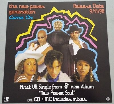 """PRINCE NPG """"COME ON"""" 1998 Promo instore Display POSTER Flat"""