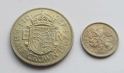 GB Halfcrown & sixpence 1967 both about uncirculated taken from sealed bank bags