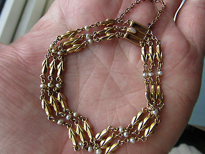 Stunning antique EDWARDIAN art Nouveau 15 ct GOLD and PEARL Bracelet LOVELY Cond