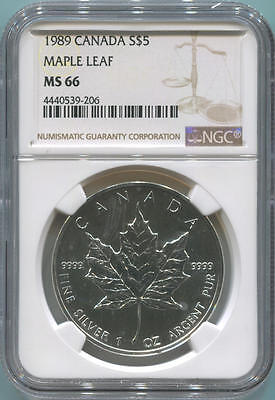 1989 Canada $5 Silver Maple Leaf, NGC MS66