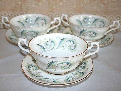 "Set of 3 Elegant Royal Standard Soupe Coupes in ""Garland"" Pattern"
