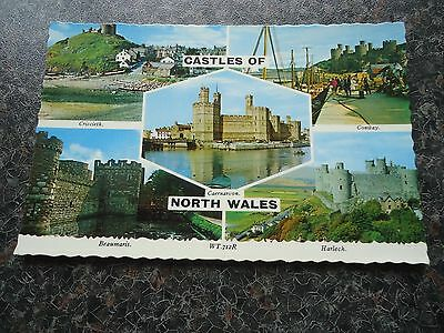 Postcard Multiview Castles Of North Wales Late 1970S
