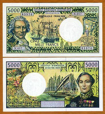 French Pacific Territories,  5000 Francs ND (1996) P-3, UNC