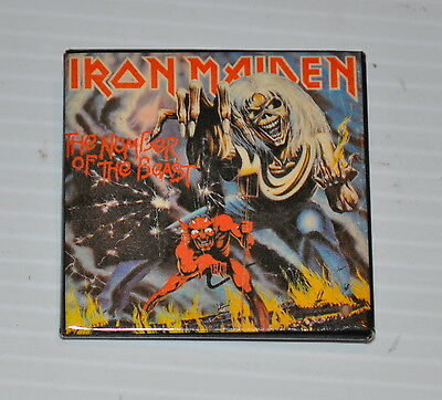 IRON MAIDEN vintage square PINBACK / PIN 1980s Number of the Beast