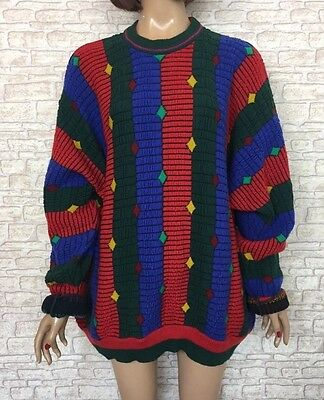 ❤️ VINTAGE Unisex 90's Oversize Neon Bright Festival Coogi Style Jumper
