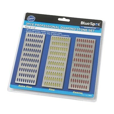 "2"" x 6"" 3 Piece Diamond Sharpening Wet Stone Set - 2in 6in Bluespot 19275 Tools"