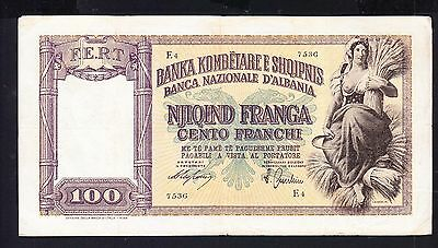 1939 Albanian Paper Money, 100FRANGA.Italy Occupation
