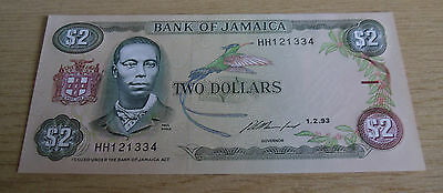 Jamaica 2 Two Dollars Banknote 1-2-93 HH121334 UNC