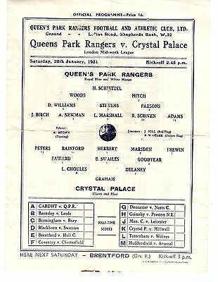 Queens Park Rangers v Crystal Palace Reserves Programme 20.1.1951 LMWL: