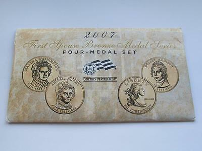 United States Mint USA First Series First Spouse 4 Bronze Medal Set Dated 2007