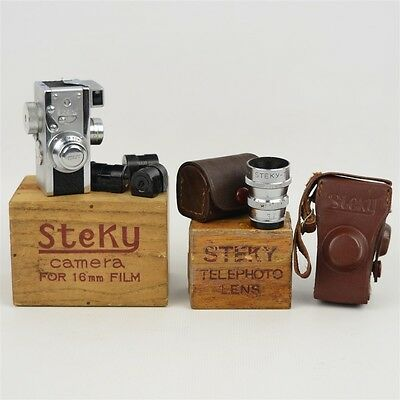 Vtg Steky III Subminature Spy 16mm Camera w/ 2 lenses Boxes Cases Occupied Japan