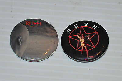 lot of 2 RUSH (Band) vintage PINBACK / PIN  /BUTTON 1980s