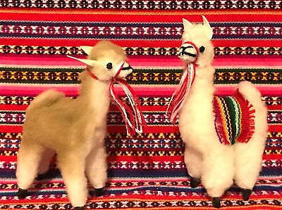 "New 1 Llamas  1 vicuna 4"" Tall Figurine Toy Stuffed Fur Soft Fluffy Andes Peru"