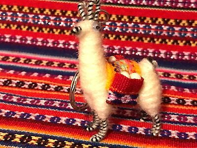 New Llama Keychain with Saddle Pouches Alpaca Peru Tiny Collectible Handcrafted