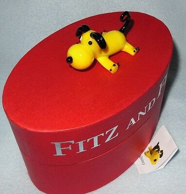 Fitz & Floyd Glass Menagerie Quincy Puppy Dog Figure NIB Free US Ship