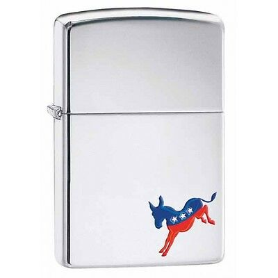 Collectable Political  Democrat Donkey - High Polish Chrome ZIPPO LIGHTER  29073