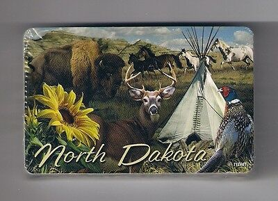 bridge size deck of playing cards deck from North Dakota, bison, horses, deer