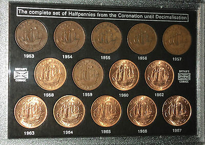 Queen Elizabeth II Halfpennies 1953-1967 Halfpenny GB Coin Collector Gift Set