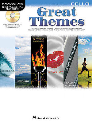Great Themes for Cello Solo Sheet Music 15 Movie TV Songs Play-Along Book CD NEW