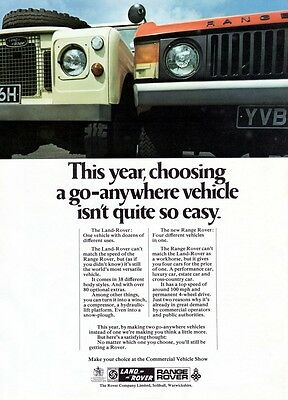 1970 Land Rover, Range Rover advert poster / print