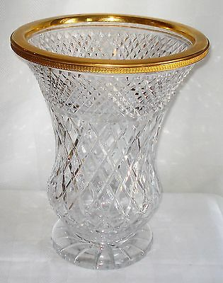 Vintage French Crystal Vase With A Brass Rim