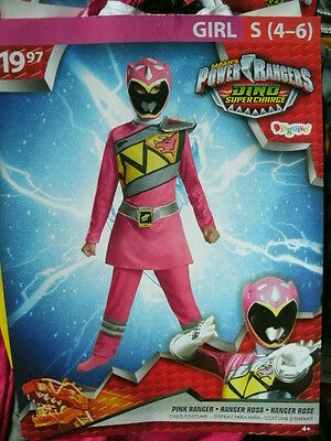 POWER RANGERS DINO SUPER CHARGE 2016 COSTUME *PINK RANGER* girl S small 4-6 NEW