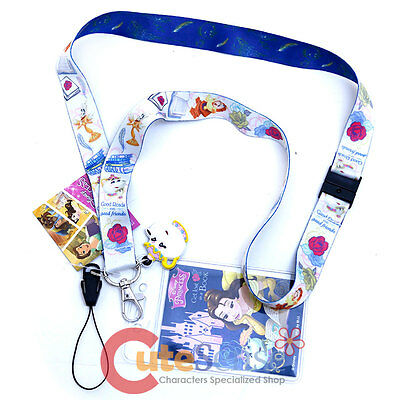 Disney Beauty and the Beast Lanyard Belle Key Chain with ID Pocket