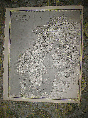 Rare Antique 1805 Sweden Norway Copperplate Arrowsmith And Lewis Map Fine Cond.
