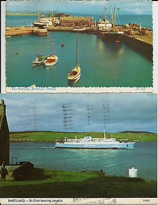 St Clair Aberdeen-Shetland ferry and Kirkwall Harbour, Orkney, on two postcards