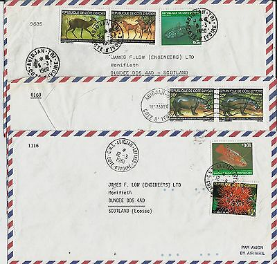 Animal stamps on 5 Ivory Coast covers from 1970-80s correspondence to Scotland