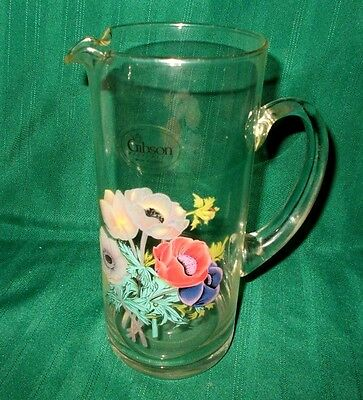 """9-3/4"""" tall Gibson clear glass pitcher with flowers (poppies?) with sticker"""
