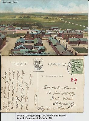 Curragh Camp, and related 1910 postmark, Co Kildare, Ireland, on two postcards