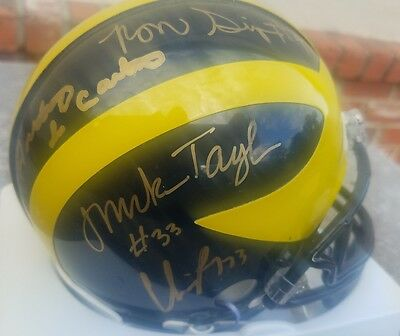 University of Michigan Autographed by 8 All Americans Mini Helmet Anthony Cart