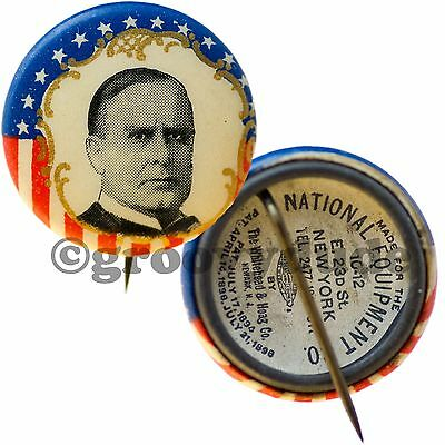 Authentic 1890's President McKinley Political Campaign Photo Pin Pinback Button